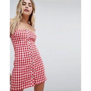 ASOS Dresses - Red White Gingham Strapless Mini Dress